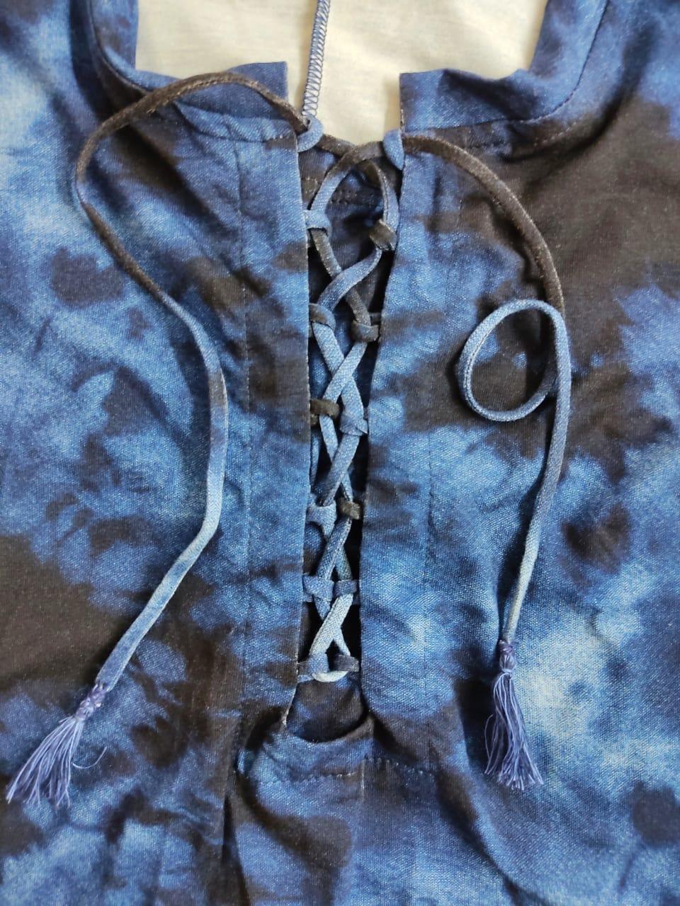 Vestido tie dye cadarço