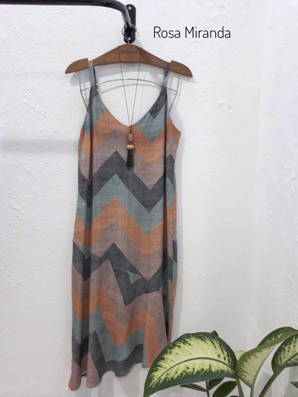 Vestido viscose estampada alça barra  assimétrica