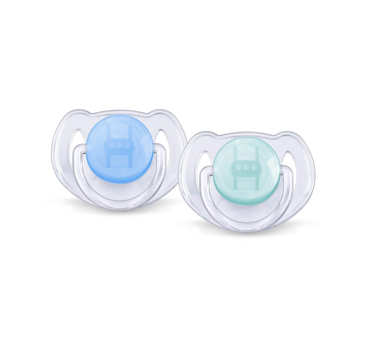 2 Chupetas ortodônticas Avent Philips Azul e verde - 6-18 Meses