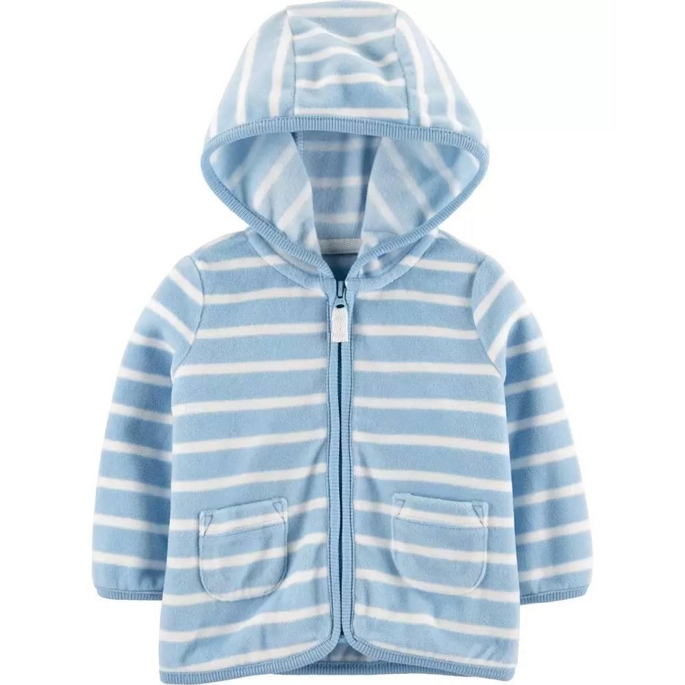 Casaco de lã carter's azul claro com listras brancas- 12 meses