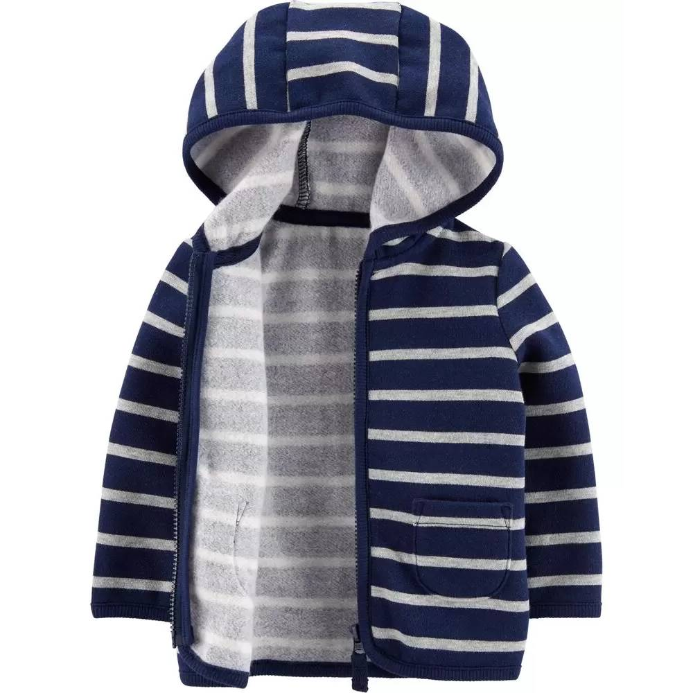 Casaco de lã carter's azul escuro com listras brancas- 18 meses