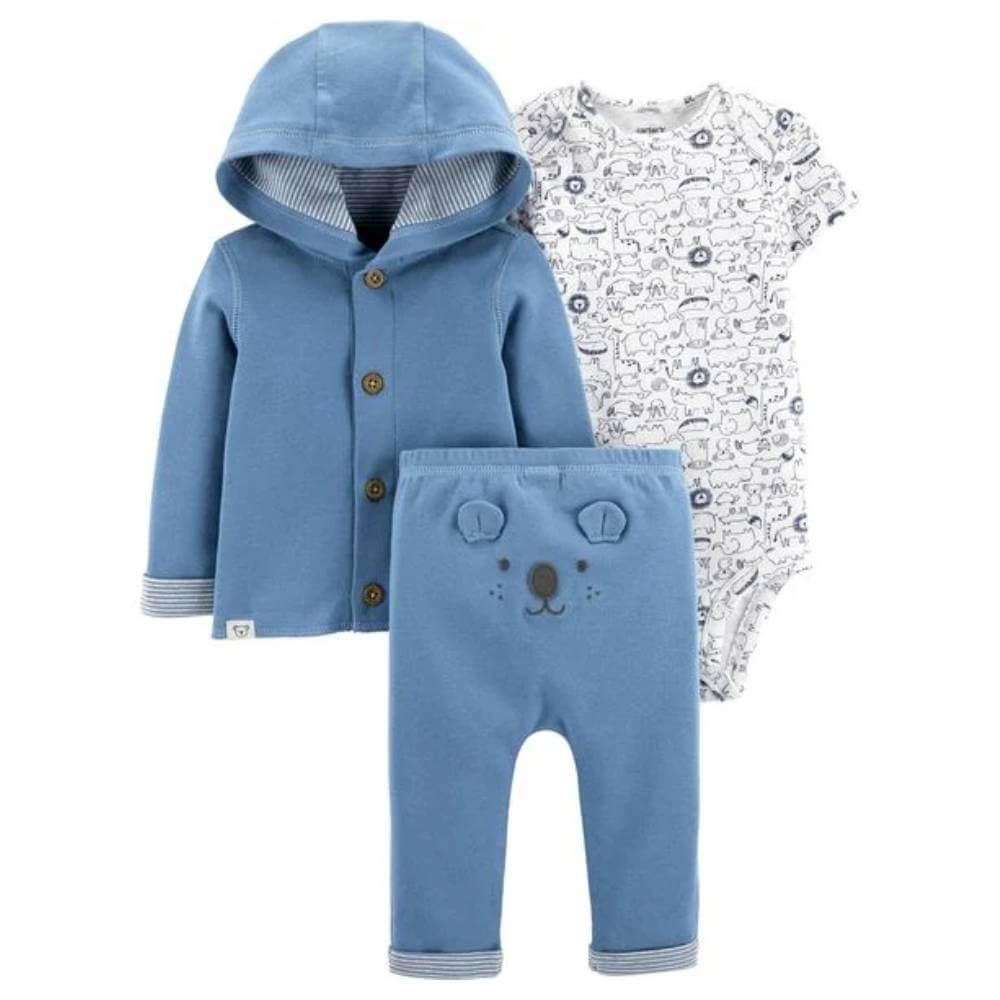 Conjunto 3 Peças Com Cardigan Azul Menino - 3 Meses