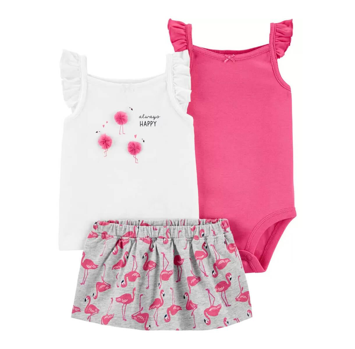 Conjunto 3 Peças Flamingo Rosa - 9 Meses