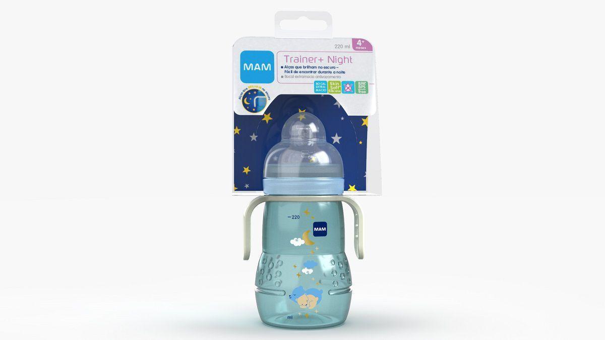 Copo MAM Trainer+ Night 220ml - Azul