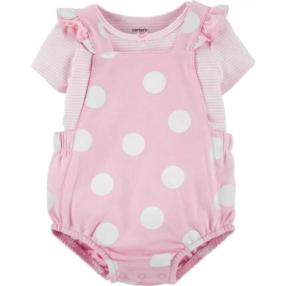 Jardineira e blusa rosa 2 peças Carter´s - tamanho 9 meses