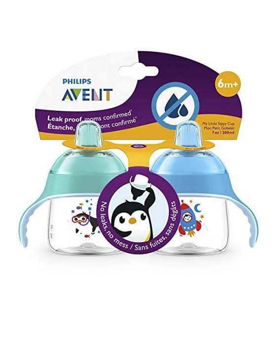 Kit 2 Copos Transição Avent Pinguim azul/verdel 6m+