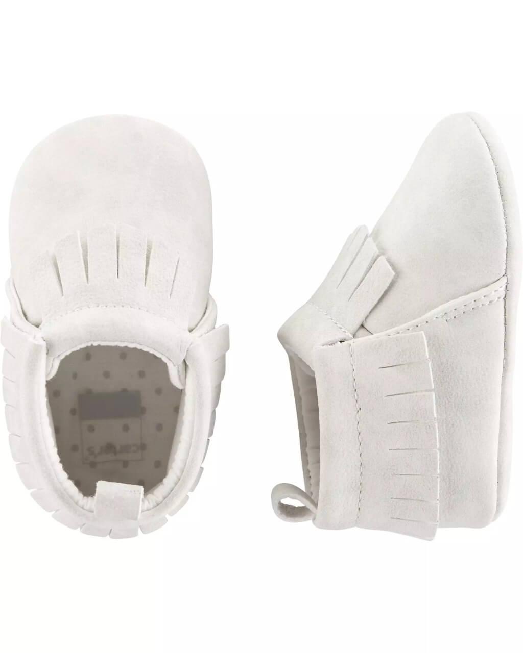 Sapato mocassim branco com franjas  para bebe Carter's