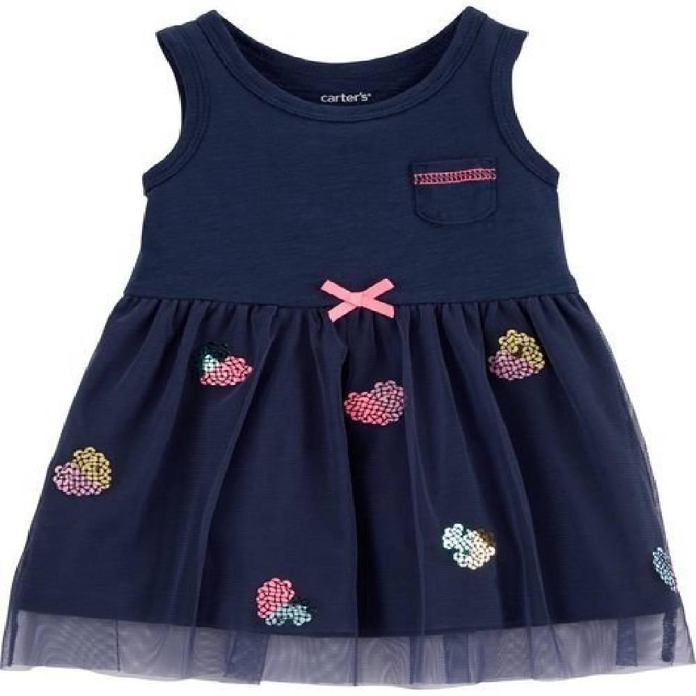 Vestido Coração Azul Marinho Carter´s -Tamanho 9 Meses
