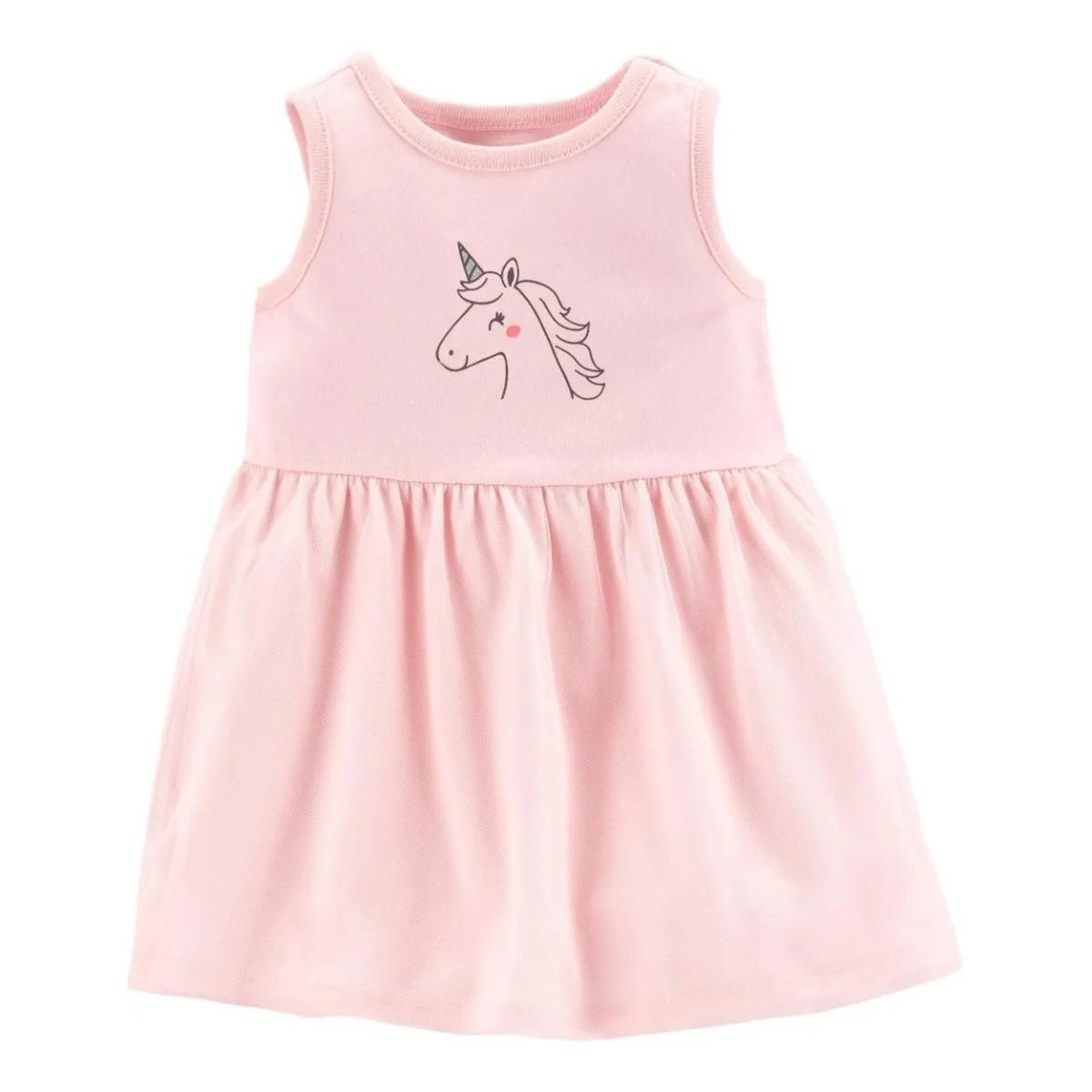 Vestido Unicórnio Rosa - 6 meses