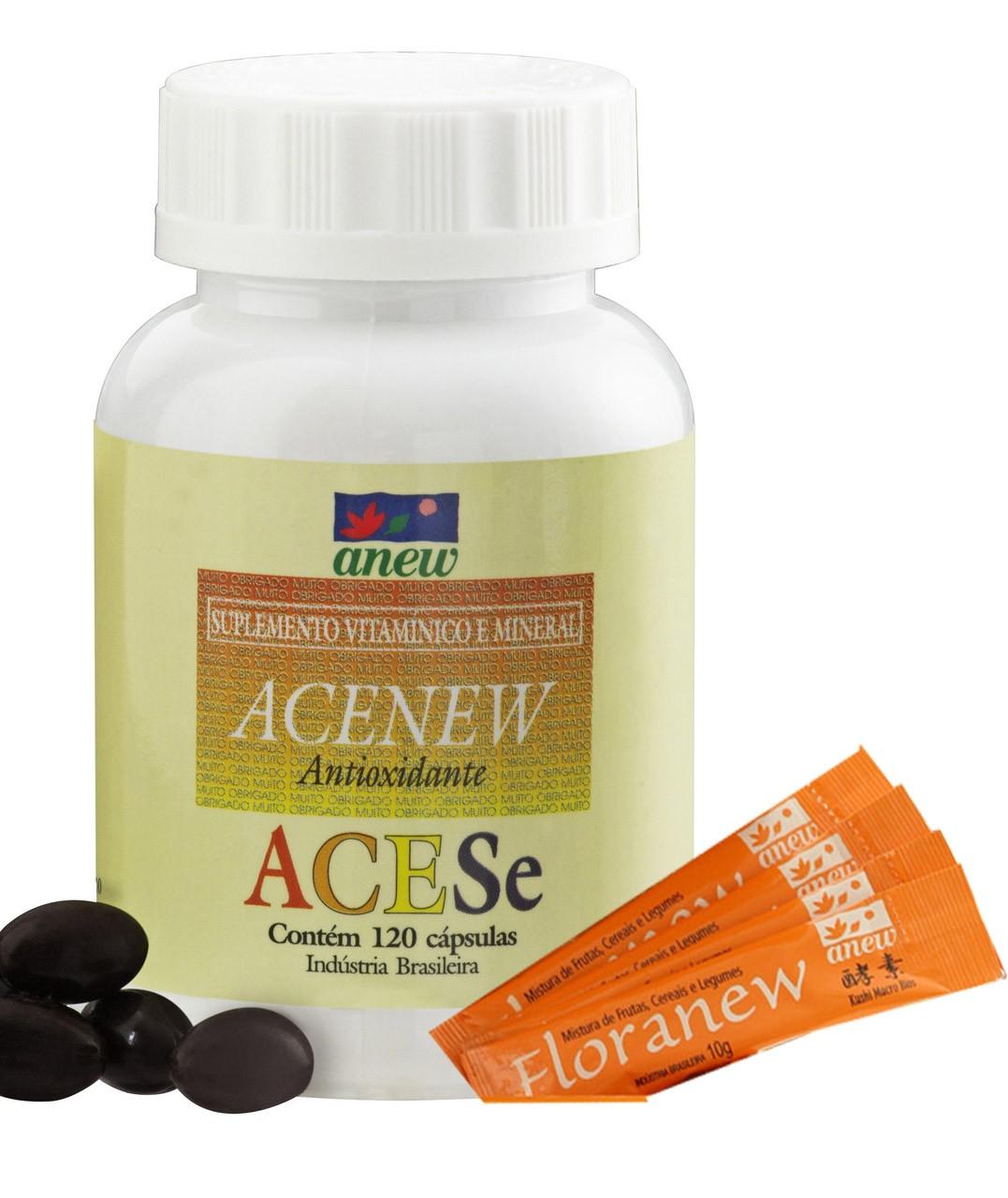 Vitamina C + A + E + Selenio: Acenew 120 Cps + Floranew (4 Amostras Grátis)