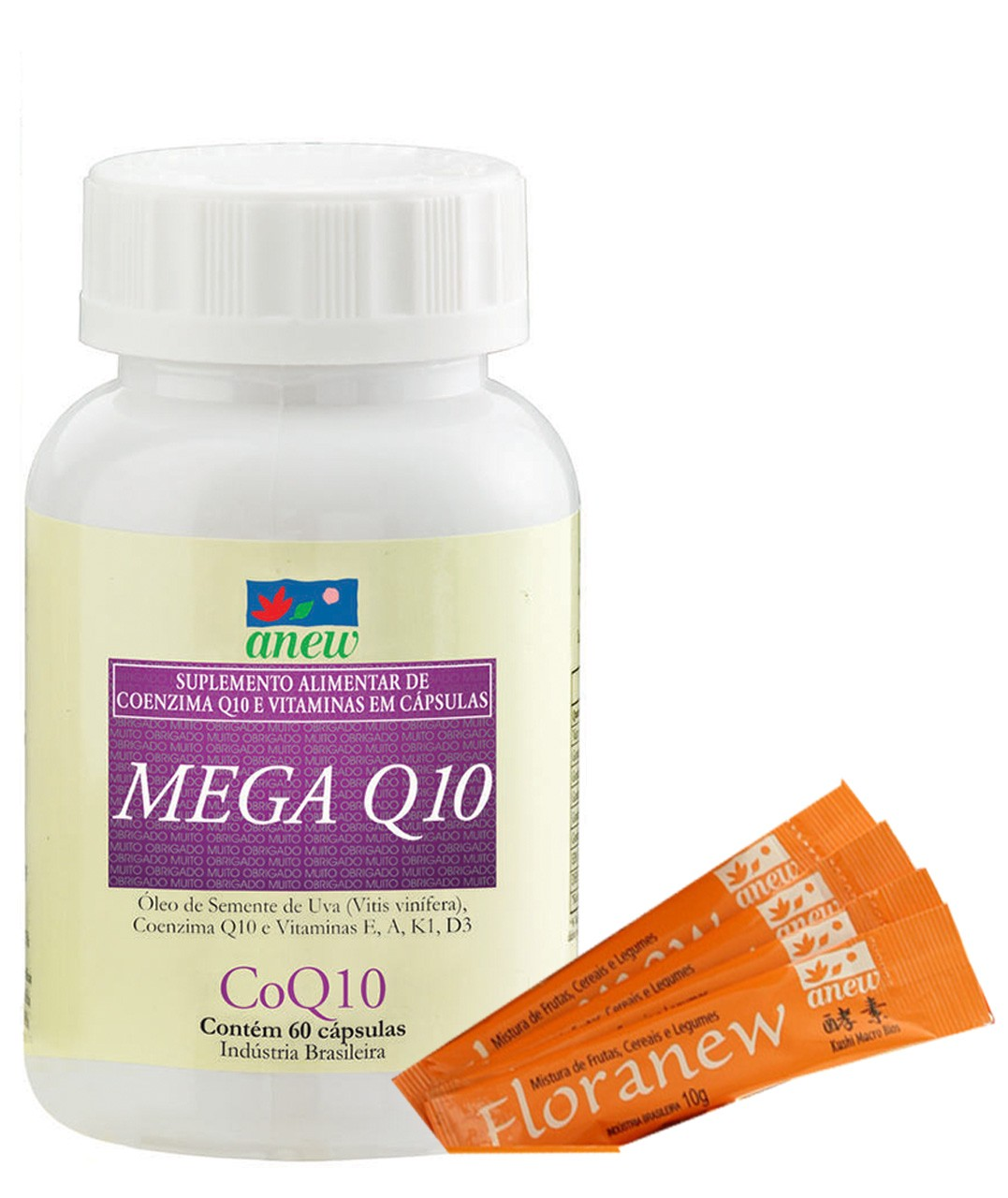 Mega Q10 60 Caps + Floranew (4 Amostras Grátis)