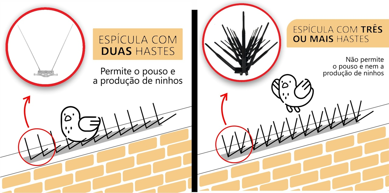 20 Espículas Anti Pombos Repelente Espanta Fácil Instalação  - Ul Brasil