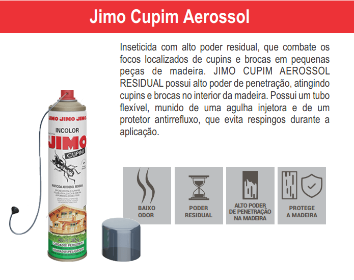 Mata Cupim Jimo Insenticida Aerosol 400ml Original  - Ul Brasil