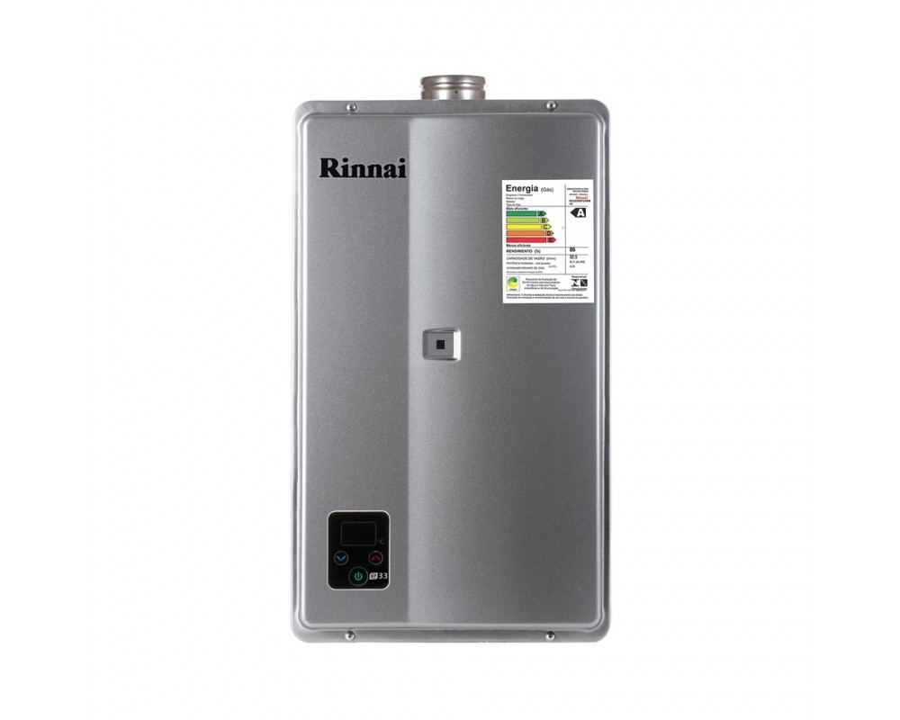 Aquecedor a Gás E33 Rinnai Prata - 32,5 litros