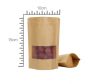 Saco Stand Up Pouch 10 x 15 + 3 cm | Papel Kraft com Visor (Janela) - Fecho ZipLock | 100 UNID.