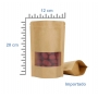 Saco Stand Up Pouch 12 x 20+3 cm | Papel Kraft com Visor (Janela) - Fecho ZipLock | 100 UNID.