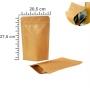 Saco Stand Up Pouch Kraft 20,5 x 27,5+5 cm - Forro em Alumínio | Fecho ZipLock  | c/ 100