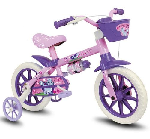 Bicicleta Infantil Nathor Aro 12 Cat Pu Feminina Rosa/ Roxo