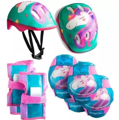 Capacete Infantil + Kit Proteção Infantil Atrio Unicórnio