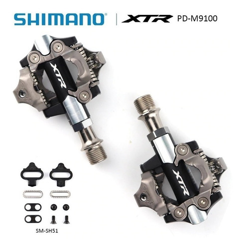 Par Pedal Clip Shimano XTR PD-M9100 Preto C/ Tacos SH51