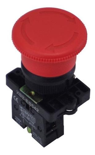 Botão Emergência Stop Com Trava Vermelho Furação 22mm 1nf