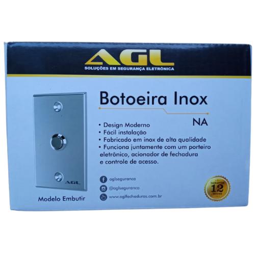 Botoeira Acionador INOX Escovado Embutir AGL