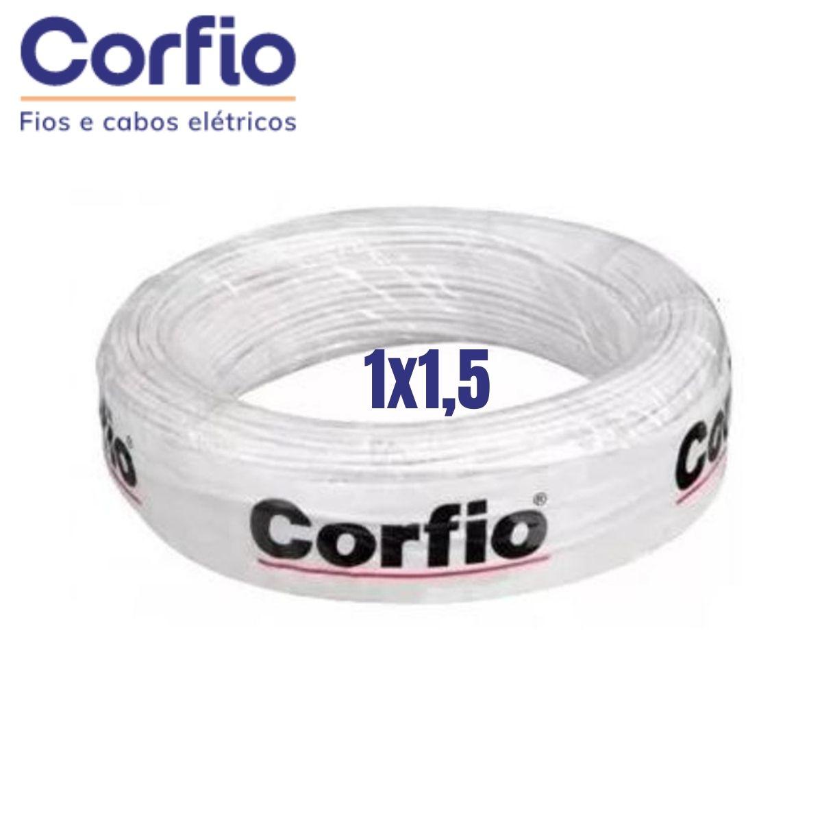 Cabo Flexível PP Corfio 450/750V 1x1,5mm Branco Rolo com 20 Metros