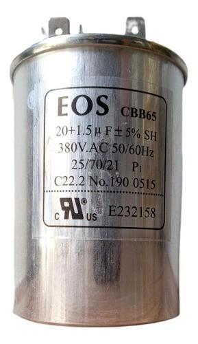 Capacitor 20+1.5 Mfd 380vac EOS Duplo com Terminal 50x70