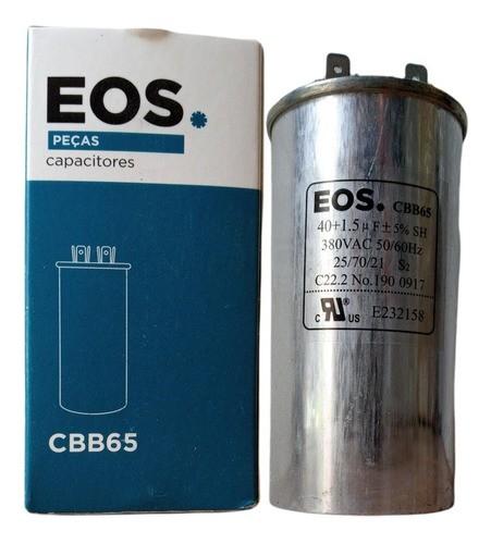 Capacitor 40+1.5 Mfd 380 Vac Eos C/terminal Duplo 50x100