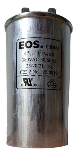 Capacitor Duplo 45 MFD 380vac EOS Com Terminal 50x105 Alumínio