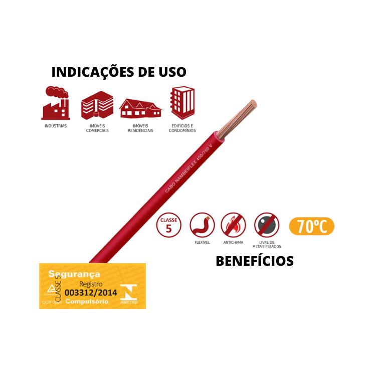 Fio Cabo Flex 750V 1 x 1,5mm Nambeiflex Vermelho Rolo de 20 Metros