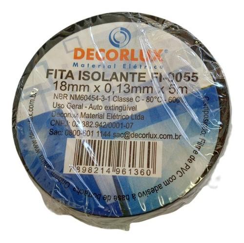 Fita Isolante PVC Reparos Elétricos 18mmx5m Preta Decorlux