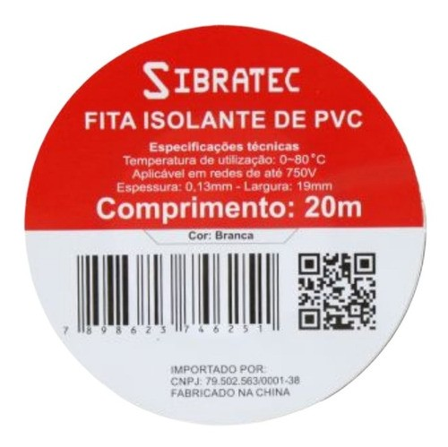 Fita Isolante Pvc Reparos Elétricos 19mmx20m Branca