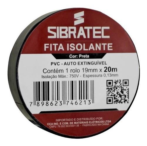 Fita Isolante Pvc Reparos Elétricos 19mmX20mX0,13mm Preta Sibratec