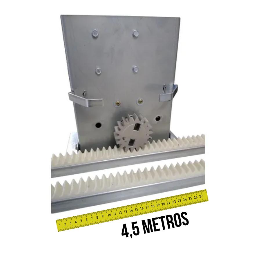 Motor Portão Deslizante Cremalheiras 4,50mts e 2 Controles 433MHz