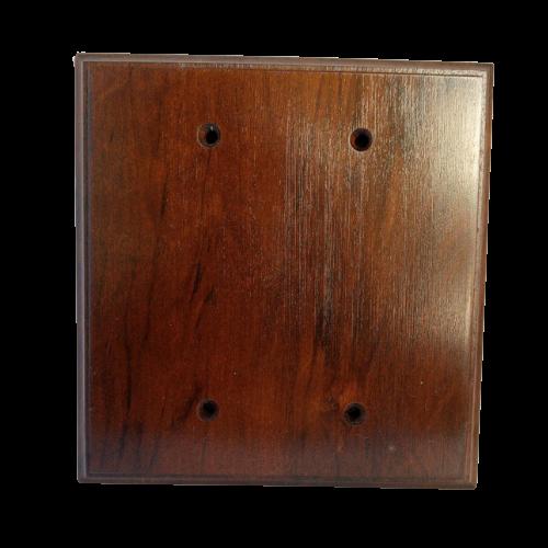 Placa Espelho Cega de Madeira Para Duas Tomadas Imbuia Escuro
