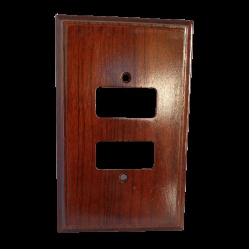 Placa Espelho de Madeira Para Tomada 2 Interruptores Imbuia
