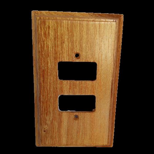 Placa Espelho de Madeira Para Tomada 2 Interruptores Louro
