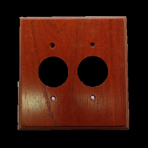 Placa Espelho de Madeira Para Tomada Redonda Dupla Imbuia