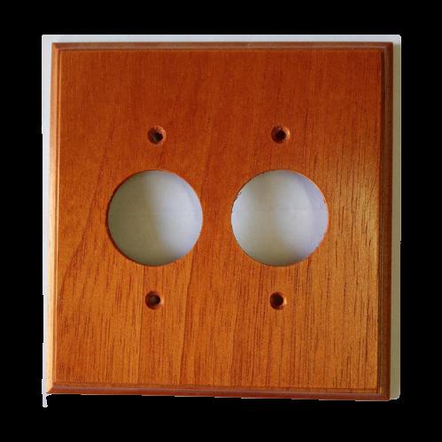 Placa Espelho de Madeira Para Tomada Redonda Dupla Mogno