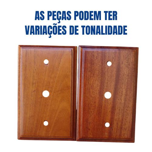 Placa Espelho de Madeira Verniz para Entrada de Fio ou Cabo