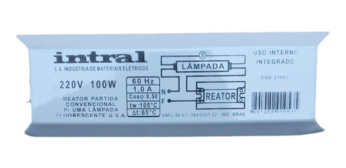 Reator Partida Convencional para Lâmpada Fluorescente 100w