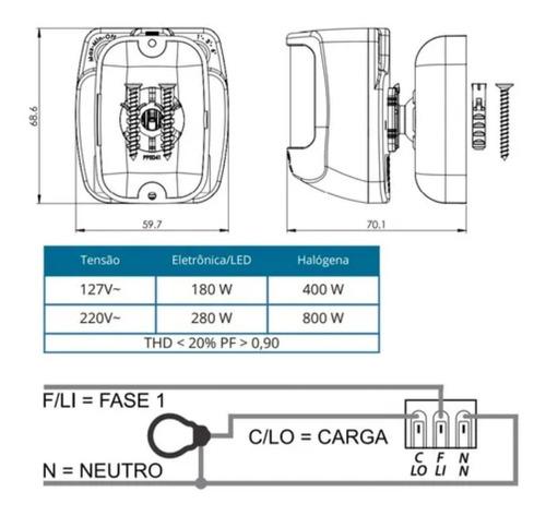 Sensor De Presença Frontal Fácil Instalação LESF 4000 Exatron