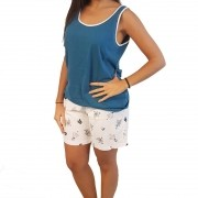 Pijama Feminino Plus Size Regata com Bermuda Tamanho 50