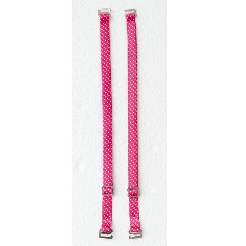 Alça de Sutiã Pink com Poá Branco - Empório das Calcinhas R00197