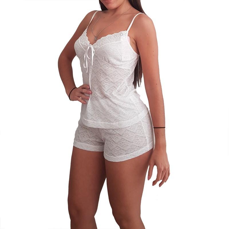 Baby Doll/Short Doll Branco em Tricot Tamanho M