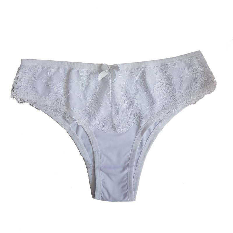 Calcinha Plus Size Branca Rendada