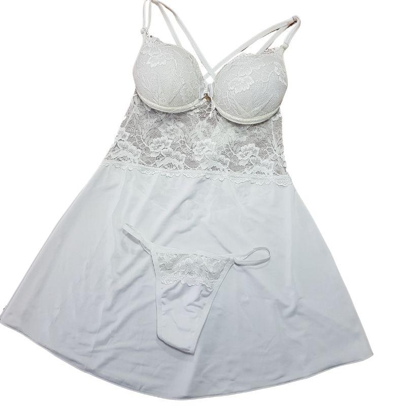 Camisola Branca Com Bojo de Liganete e Renda
