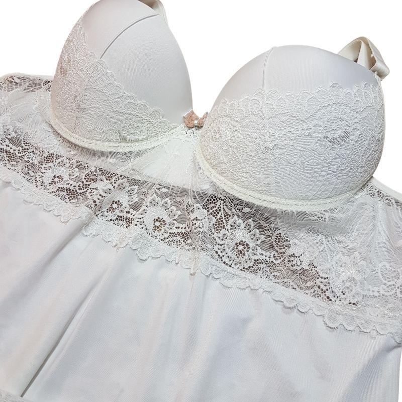 Camisola Plus Size Branca Com Bojo de Liganete e Renda