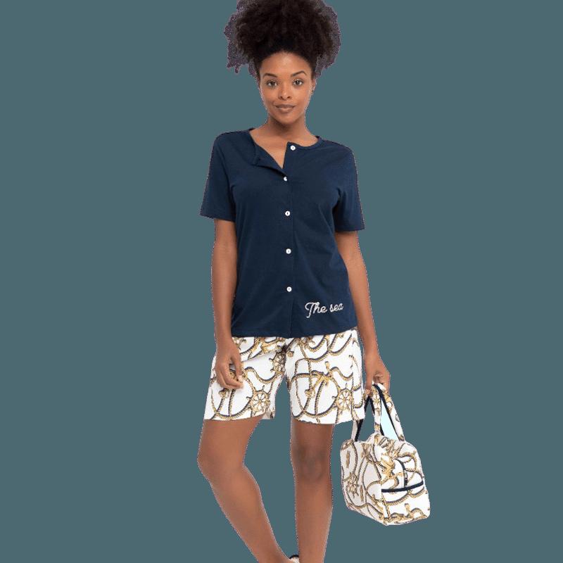 Pijama com Blusa de Botão e Bermuda Algodão